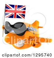 Clipart Of A 3d Orange Airplane Wearing Sunglasses And Flying To The Left With A British Flag Royalty Free Illustration