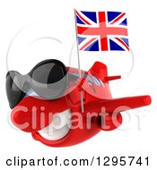 Clipart Of A 3d Red Airplane Wearing Sunglasses And Flying To The Left With A British Flag Royalty Free Illustration