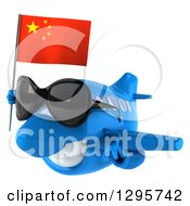 Clipart Of A 3d Blue Airplane Wearing Sunglasses And Flying To The Left With A Chinese Flag Royalty Free Illustration