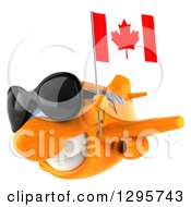 Clipart Of A 3d Happy Orange Airplane Wearing Sunglasses And Flying To The Left With A Canadian Flag Royalty Free Illustration