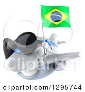 Clipart Of A 3d Happy White Airplane Wearing Sunglasses And Flying To The Left With A Brazilian Flag Royalty Free Illustration