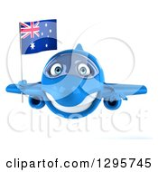 Clipart Of A 3d Happy Blue Airplane Flying With An Australian Flag Royalty Free Illustration