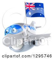 Clipart Of A 3d Happy White Airplane Flying To The Left With An Australian Flag Royalty Free Illustration