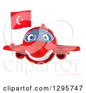 Clipart Of A 3d Happy Red Airplane Flying With A Turkey Flag Royalty Free Illustration