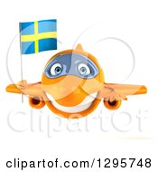 Clipart Of A 3d Happy Orange Airplane Flying With A Swedish Flag Royalty Free Illustration