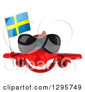 Clipart Of A 3d Red Airplane Wearing Sunglasses And Flying With A Swedish Flag Royalty Free Illustration