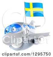 Clipart Of A 3d White Airplane Flying To The Left With A Swedish Flag Royalty Free Illustration