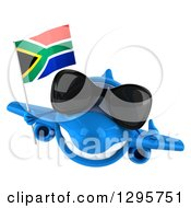 Clipart Of A 3d Blue Airplane Wearing Sunglasses Giving A Thumb Up And Flying With A South African Flag Royalty Free Illustration