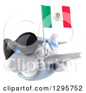 Clipart Of A 3d White Airplane Wearing Sunglasses And Flying To The Left With A Mexican Flag Royalty Free Illustration