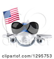 Clipart Of A 3d Happy White Airplane Wearing Sunglasses And Flying With An American Flag Royalty Free Illustration