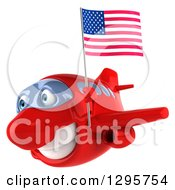 Clipart Of A 3d Happy Red Airplane Flying To The Left With An American Flag Royalty Free Illustration