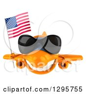 Clipart Of A 3d Happy Orange Airplane Wearing Sunglasses And Flying With An American Flag Royalty Free Illustration