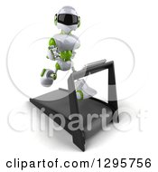 Clipart Of A 3d White And Green Robot Running On A Treadmill 2 Royalty Free Illustration