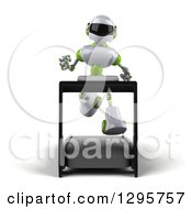 Clipart Of A 3d White And Green Robot Running On A Treadmill Royalty Free Illustration