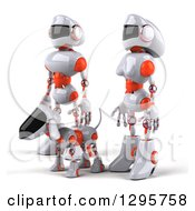 Clipart Of A 3d White And Orange Robot Couple And Dog Facing Left Royalty Free Illustration by Julos