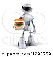 Clipart Of A 3d White And Blue Robot Holding Out A Double Cheeseburger Royalty Free Illustration