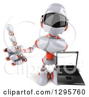 Clipart Of A 3d White And Orange Robot Holding Up A Laptop And A Thumb Royalty Free Illustration