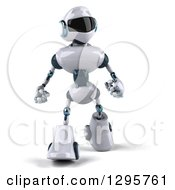 Clipart Of A 3d White And Blue Robot Walking Royalty Free Illustration