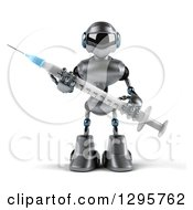 Clipart Of A 3d Silver Male Techno Robot Holding A Vaccination Syringe Royalty Free Illustration by Julos