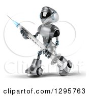 Clipart Of A 3d Silver Male Techno Robot Walking To The Left And Holding A Vaccination Syringe Royalty Free Illustration by Julos