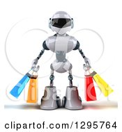 Clipart Of A 3d White And Blue Robot Carrying Shopping Bags Royalty Free Illustration