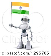 Clipart Of A 3d White And Blue Robot Holding An Indian Flag Royalty Free Illustration