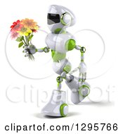 Clipart Of A 3d White And Green Robot Walking To The Left With A Bouquet Of Flowers Royalty Free Illustration