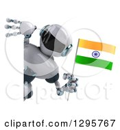Clipart Of A 3d White And Blue Robot Holding An Indian Flag And Looking Around A Sign Royalty Free Illustration