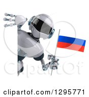 Clipart Of A 3d White And Blue Robot Holding A Russian Flag Around A Sign Royalty Free Illustration
