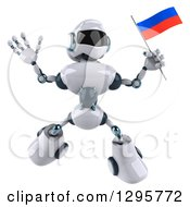 Clipart Of A 3d White And Blue Robot Jumping And Holding A Russian Flag Royalty Free Illustration