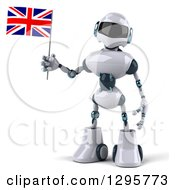 Clipart Of A 3d White And Blue Robot Holding A British Flag Royalty Free Illustration