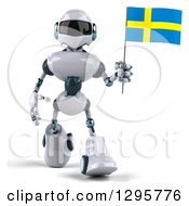 Clipart Of A 3d White And Blue Robot Walking And Holding A Sweden Flag Royalty Free Illustration