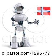 Clipart Of A 3d White And Blue Robot Holding And Presenting A Norway Flag Royalty Free Illustration