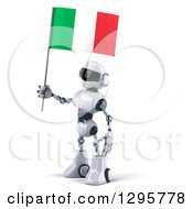 Clipart Of A 3d White And Blue Robot Facing Left With An Italian Flag Royalty Free Illustration