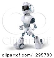 Clipart Of A 3d White And Blue Robot Walking To The Left Royalty Free Illustration