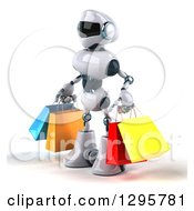 Clipart Of A 3d White And Blue Robot Facing Slightly Left And Carrying Shopping Bags Royalty Free Illustration
