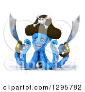 Clipart Of A 3d Happy Blue Pirate Octopus Holding Swords Royalty Free Illustration