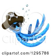 Clipart Of A 3d Happy Blue Pirate Octopus Wearing Sunglasses And Swimming 2 Royalty Free Illustration by Julos