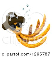 Clipart Of A 3d Happy Orange Pirate Octopus Wearing Shades And Swimming Royalty Free Illustration