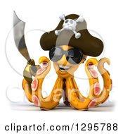 Clipart Of A 3d Happy Orange Pirate Octopus Wearing Sunglasses And Holding A Sword Royalty Free Illustration