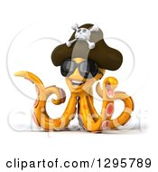 Clipart Of A 3d Happy Orange Pirate Octopus Wearing Sunglasses Royalty Free Illustration