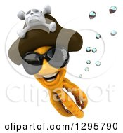 Clipart Of A 3d Happy Orange Pirate Octopus Wearing Sunglasses And Swimming Royalty Free Illustration