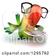 Clipart Of A 3d Bespectacled Green Macaw Parrot Gesturing And Holding A Book Royalty Free Illustration