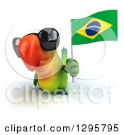 Clipart Of A 3d Green Macaw Parrot Wearing Sunglasses And Holding Up A Brazil Flag Royalty Free Illustration