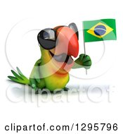 Clipart Of A 3d Green Macaw Parrot Wearing Sunglasses Facing Slightly Right And Holding A Brazil Flag Royalty Free Illustration