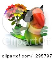 Clipart Of A 3d Green Macaw Parrot Wearing Sunglasses And Holding A Bouquet Of Flowers Around A Sign Royalty Free Illustration