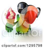 Clipart Of A 3d Green Macaw Parrot Wearing Sunglasses And Holding Up A Waffle Ice Cream Cone Royalty Free Illustration