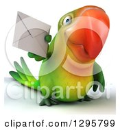 Clipart Of A 3d Green Macaw Parrot Holding An Envelope Royalty Free Illustration
