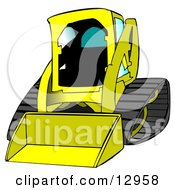 Yellow Bobcat Skid Steer Loader With Blue Window Tint Clipart Graphic Illustration