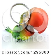 Clipart Of A 3d Green Macaw Parrot Looking Up And Searching Through A Magnifying Glass Royalty Free Illustration